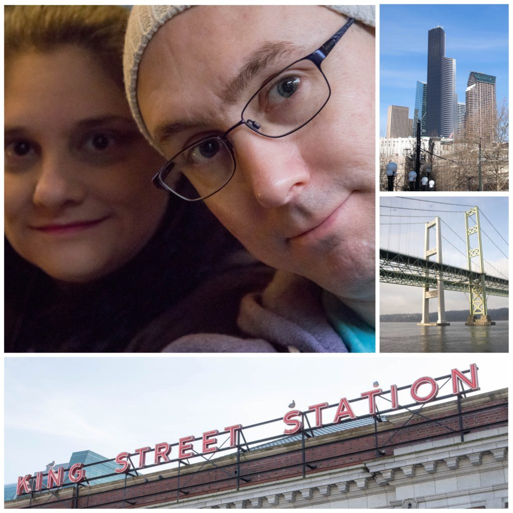 A collage image of me, kender, the seattle skyline, a bridge in tacoma, and the sign for King Street Station.
