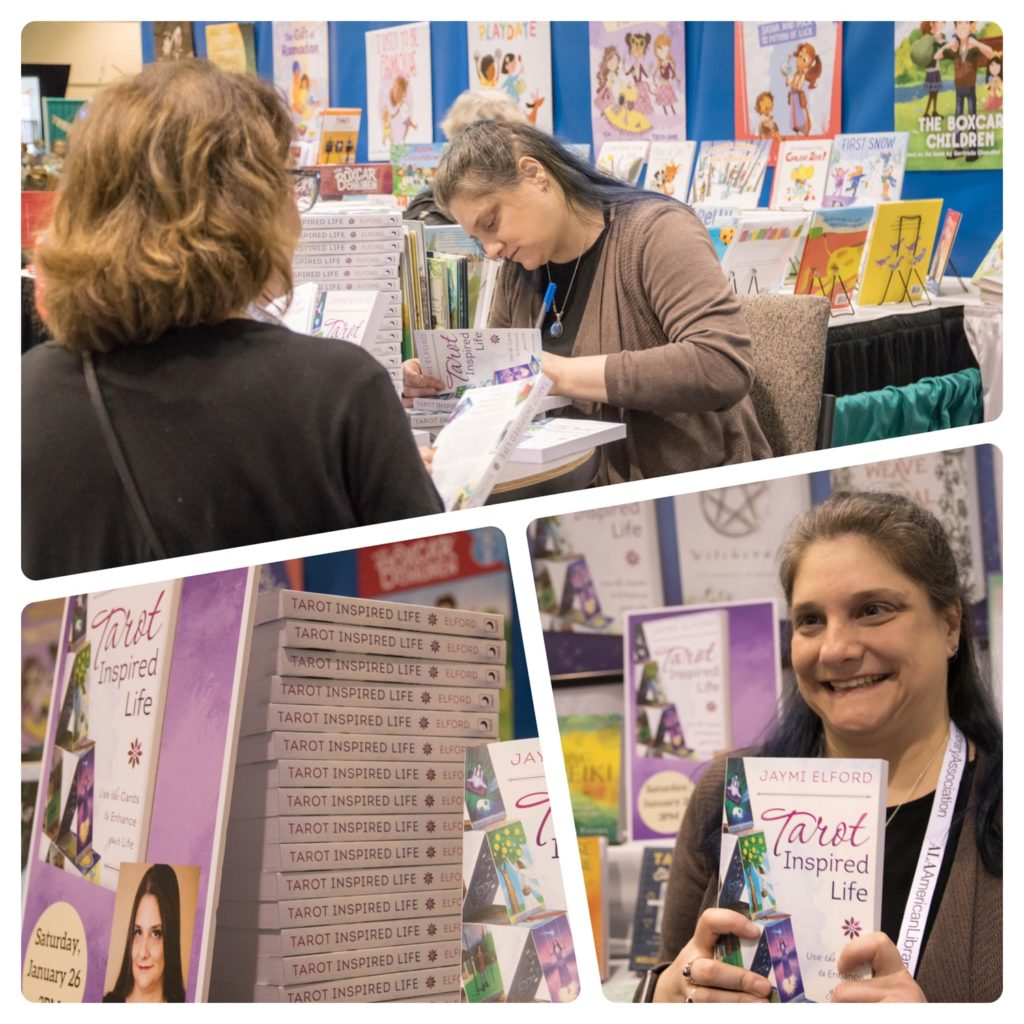 A collage of me signing copies of Tarot Inspired Life. A stack of books gone in 30 minutes. One happy author
