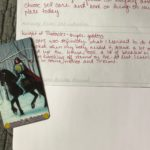 Example of filling out the evening lessons learned area on the Daily Draw sheet using the Knight of Pentacles.