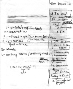 Notes forming the original outline for Tarot Inspired Life
