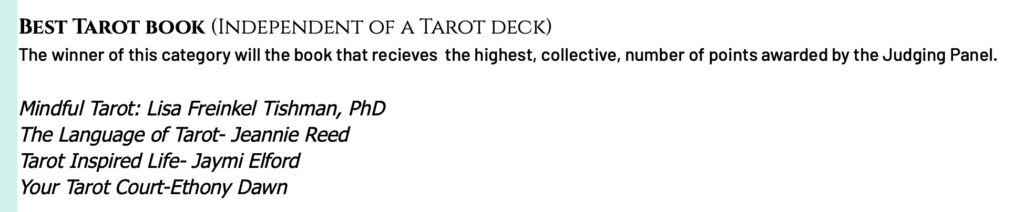 The Best Tarot Book nominations for CARTA 2020.