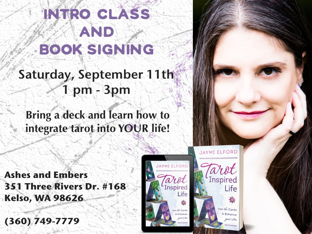 Image of me, and my book in digital and print formats with the information for a class and signing at Ashes and Embers in Kelso, WA.